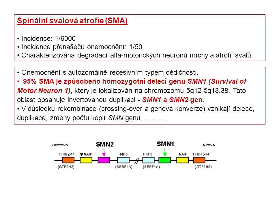 Onemocnění s autozomálně recesivním typem dědičnosti. 95% SMA je způsobeno homozygotní delecí genu SMN1 (Survival of Motor Neuron 1), který je lokaliz