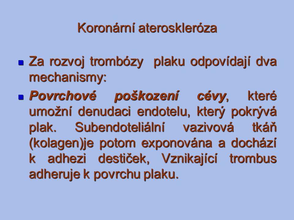 Koronární ateroskleróza Za rozvoj trombózy plaku odpovídají dva mechanismy: Za rozvoj trombózy plaku odpovídají dva mechanismy: Povrchové poškození cé