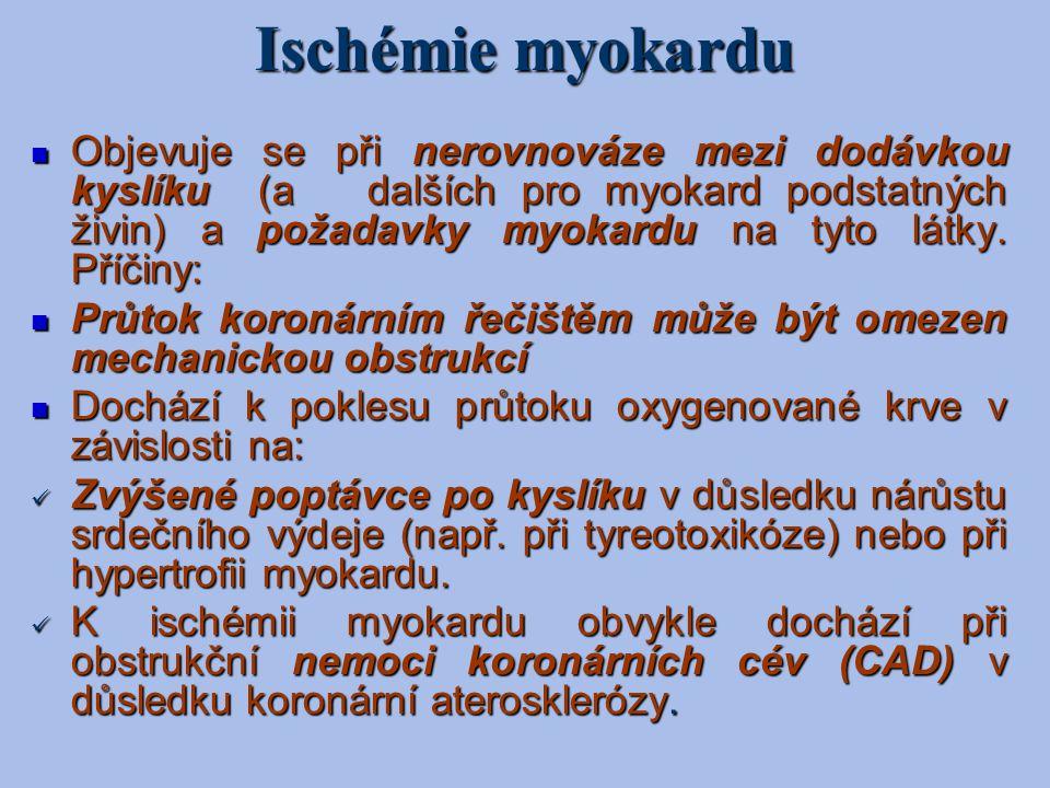 Ischémie myokardu Objevuje se při nerovnováze mezi dodávkou kyslíku (a dalších pro myokard podstatných živin) a požadavky myokardu na tyto látky. Příč