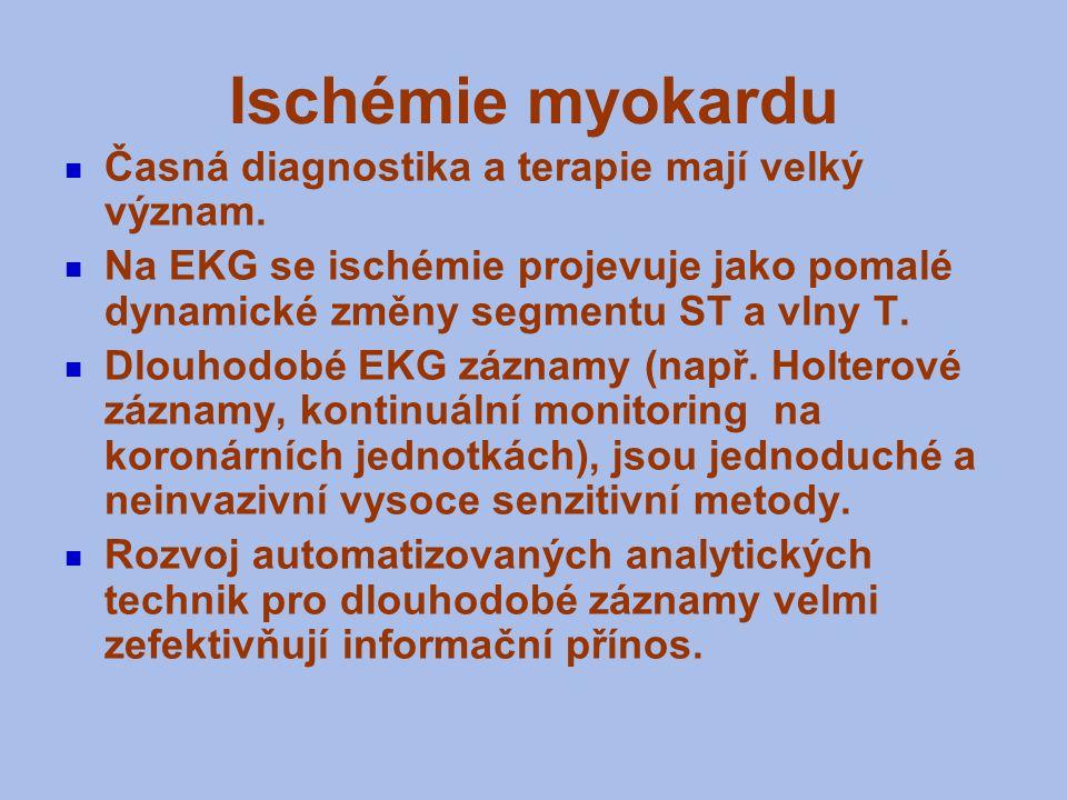 Ischémie myokardu Časná diagnostika a terapie mají velký význam. Na EKG se ischémie projevuje jako pomalé dynamické změny segmentu ST a vlny T. Dlouho