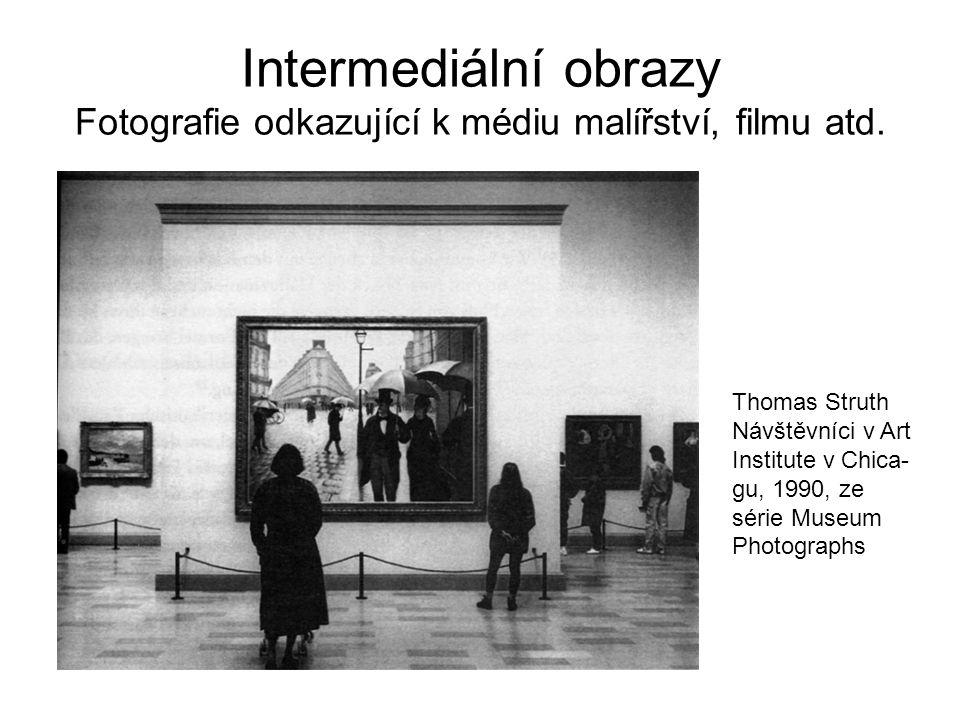 Intermediální obrazy Fotografie odkazující k médiu malířství, filmu atd. Thomas Struth Návštěvníci v Art Institute v Chica- gu, 1990, ze série Museum