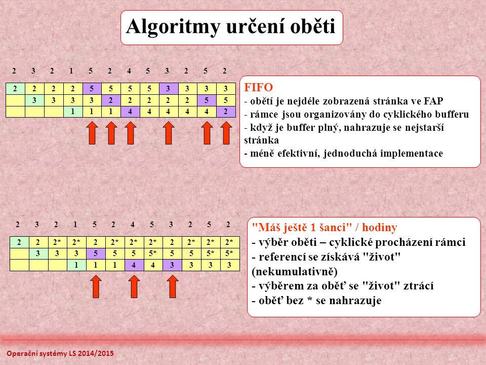 Algoritmy určení oběti FIFO - obětí je nejdéle zobrazená stránka ve FAP - rámce jsou organizovány do cyklického bufferu - když je buffer plný, nahrazuje se nejstarší stránka - méně efektivní, jednoduchá implementace Máš ještě 1 šanci / hodiny - výběr oběti – cyklické procházení rámci - referencí se získává život (nekumulativně) - výběrem za oběť se život ztrácí - oběť bez * se nahrazuje 2 2 22* 3 2 2 2152453252 3335555*55 111443333 2 2 222 3 55553333 2152453252 33332222255 111444442 Operační systémy LS 2014/2015