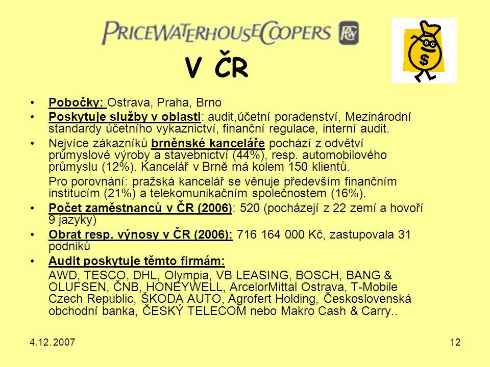 4.12. 200712 Pobočky: Ostrava, Praha, Brno Poskytuje služby v oblasti: audit,účetní poradenství, Mezinárodní standardy účetního vykaznictví, finanční