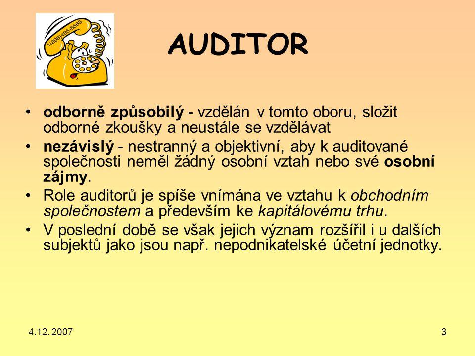 4.12. 20073 AUDITOR odborně způsobilý - vzdělán v tomto oboru, složit odborné zkoušky a neustále se vzdělávat nezávislý - nestranný a objektivní, aby