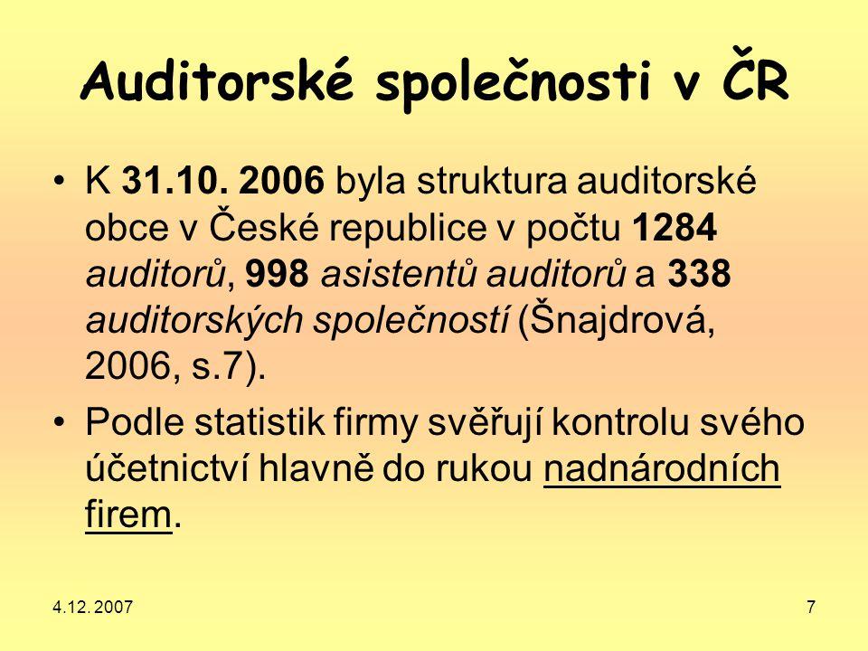 4.12. 20077 Auditorské společnosti v ČR K 31.10. 2006 byla struktura auditorské obce v České republice v počtu 1284 auditorů, 998 asistentů auditorů a