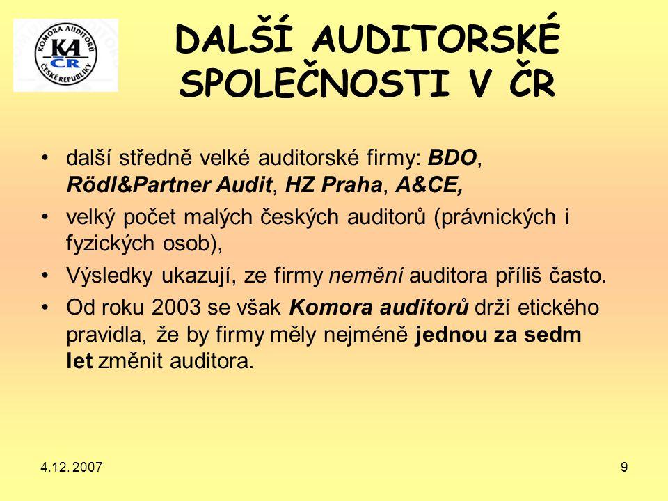 4.12. 20079 DALŠÍ AUDITORSKÉ SPOLEČNOSTI V ČR další středně velké auditorské firmy: BDO, Rödl&Partner Audit, HZ Praha, A&CE, velký počet malých českýc