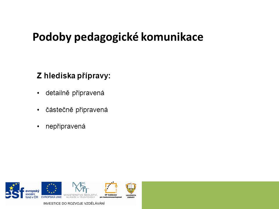 Podoby pedagogické komunikace Z hlediska přípravy: detailně připravená částečně připravená nepřipravená