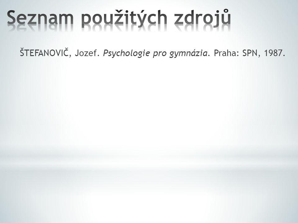 ŠTEFANOVIČ, Jozef. Psychologie pro gymnázia. Praha: SPN, 1987.