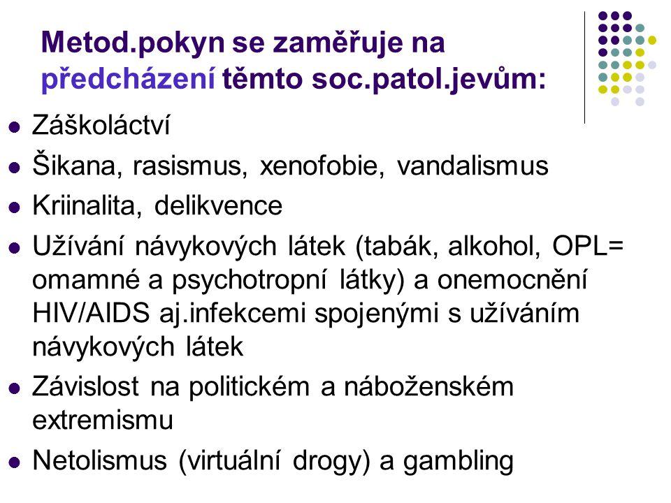 Metod.pokyn se zaměřuje na předcházení těmto soc.patol.jevům: Záškoláctví Šikana, rasismus, xenofobie, vandalismus Kriinalita, delikvence Užívání návykových látek (tabák, alkohol, OPL= omamné a psychotropní látky) a onemocnění HIV/AIDS aj.infekcemi spojenými s užíváním návykových látek Závislost na politickém a náboženském extremismu Netolismus (virtuální drogy) a gambling