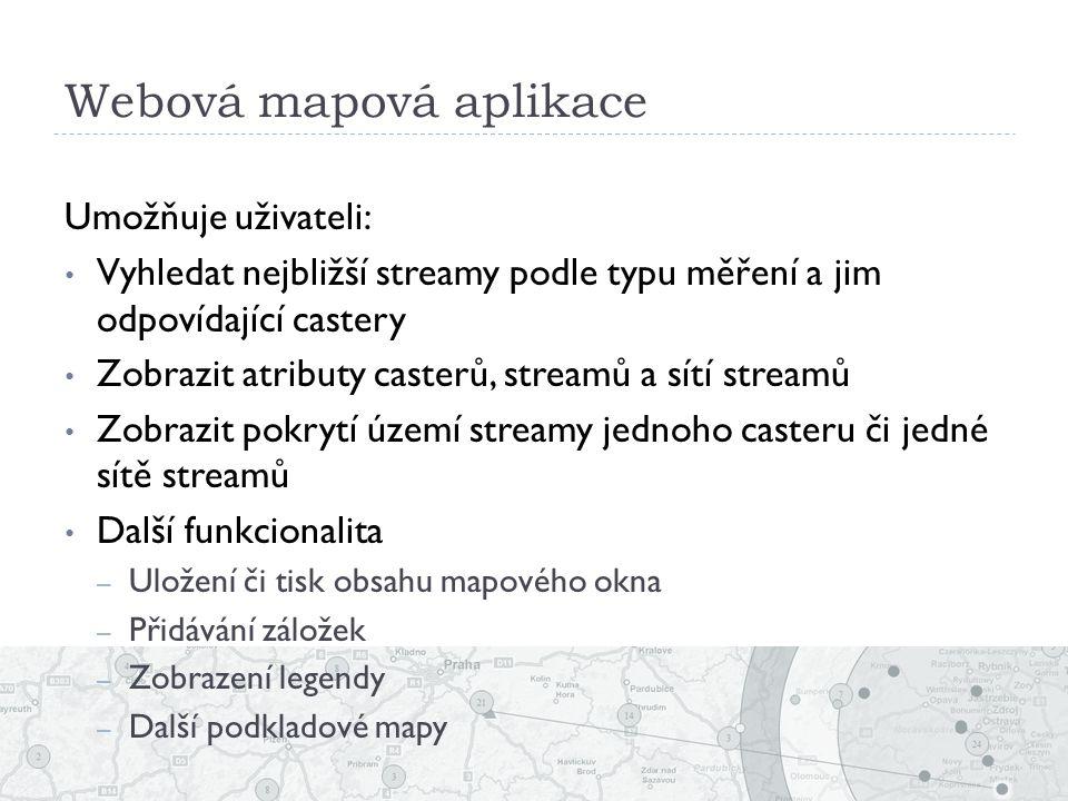 Webová mapová aplikace Umožňuje uživateli: Vyhledat nejbližší streamy podle typu měření a jim odpovídající castery Zobrazit atributy casterů, streamů