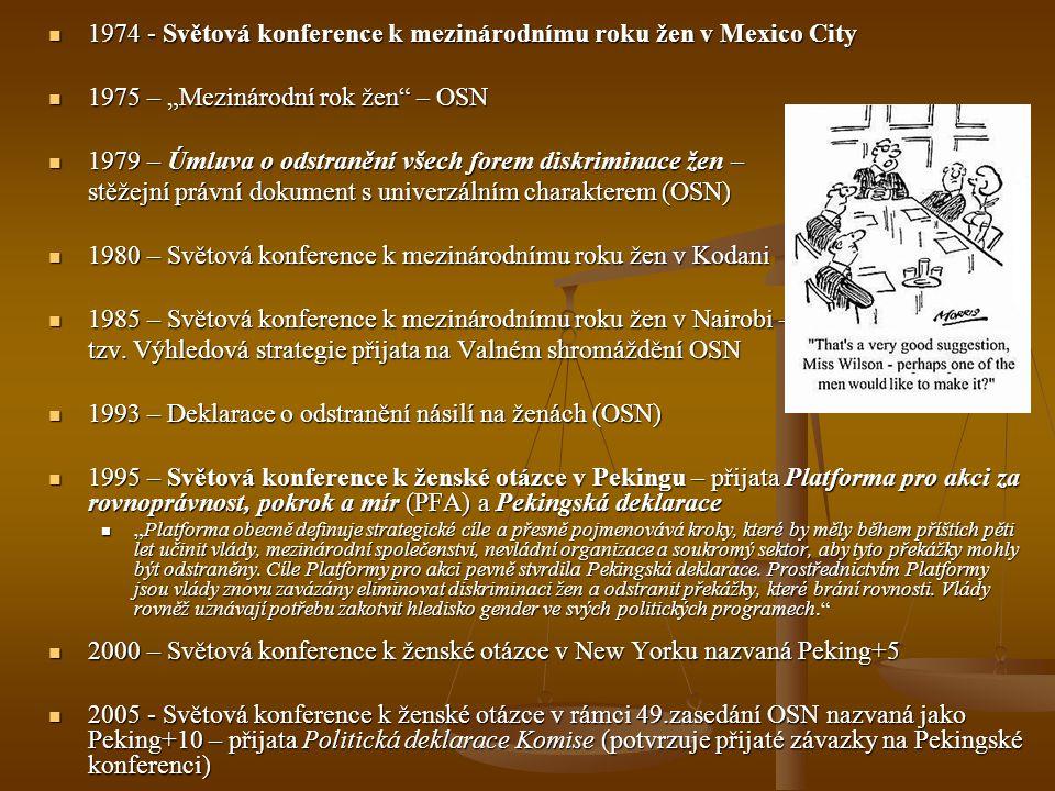 """1974 - Světová konference k mezinárodnímu roku žen v Mexico City 1974 - Světová konference k mezinárodnímu roku žen v Mexico City 1975 – """"Mezinárodní"""