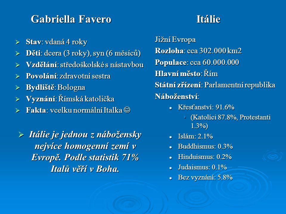 Gabriella Favero Itálie  Stav: vdaná 4 roky  Děti: dcera (3 roky), syn (6 měsíců)  Vzdělání: středoškolské s nástavbou  Povolání: zdravotní sestra