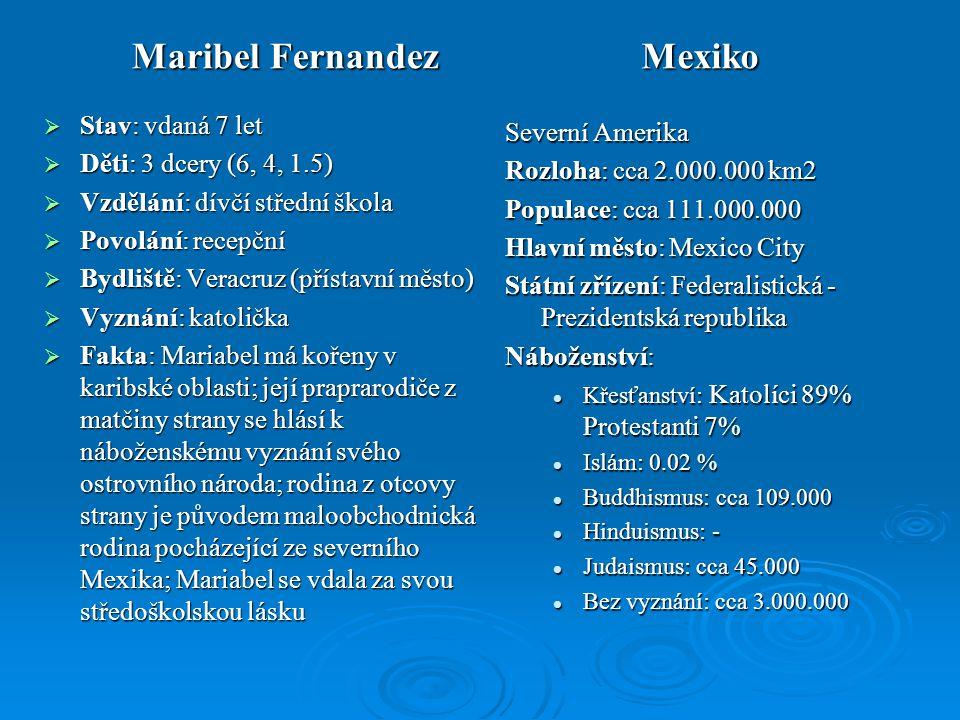 Maribel Fernandez Mexiko  Stav: vdaná 7 let  Děti: 3 dcery (6, 4, 1.5)  Vzdělání: dívčí střední škola  Povolání: recepční  Bydliště: Veracruz (př