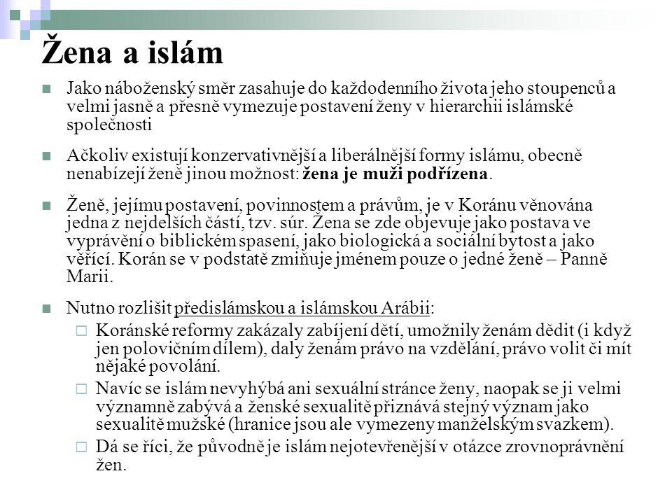 Žena a islám Jako náboženský směr zasahuje do každodenního života jeho stoupenců a velmi jasně a přesně vymezuje postavení ženy v hierarchii islámské