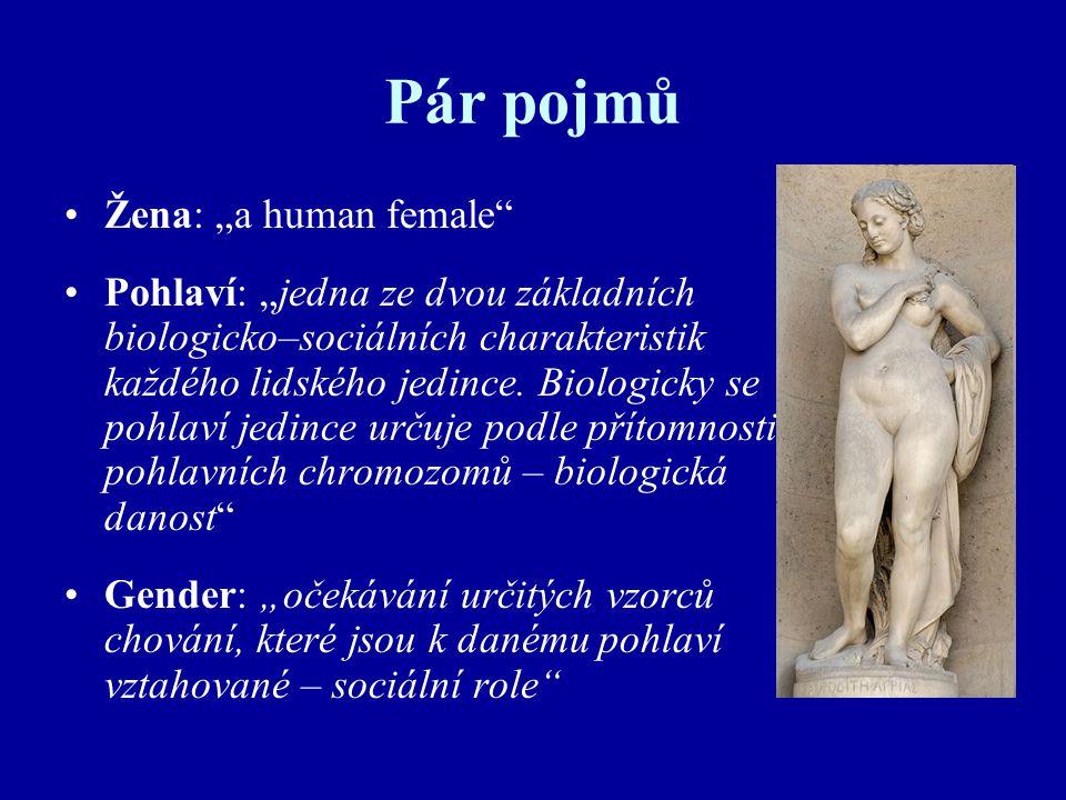 """Pár pojmů Žena: """"a human female"""" Pohlaví: """"jedna ze dvou základních biologicko–sociálních charakteristik každého lidského jedince. Biologicky se pohla"""
