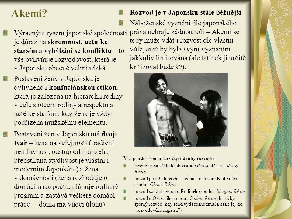 Akemi? Výrazným rysem japonské společnosti je důraz na skromnost, úctu ke starším a vyhýbání se konfliktu – to vše ovlivňuje rozvodovost, která je v J