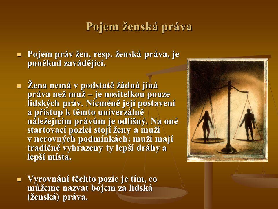 Pojem ženská práva Pojem práv žen, resp. ženská práva, je poněkud zavádějící. Pojem práv žen, resp. ženská práva, je poněkud zavádějící. Žena nemá v p
