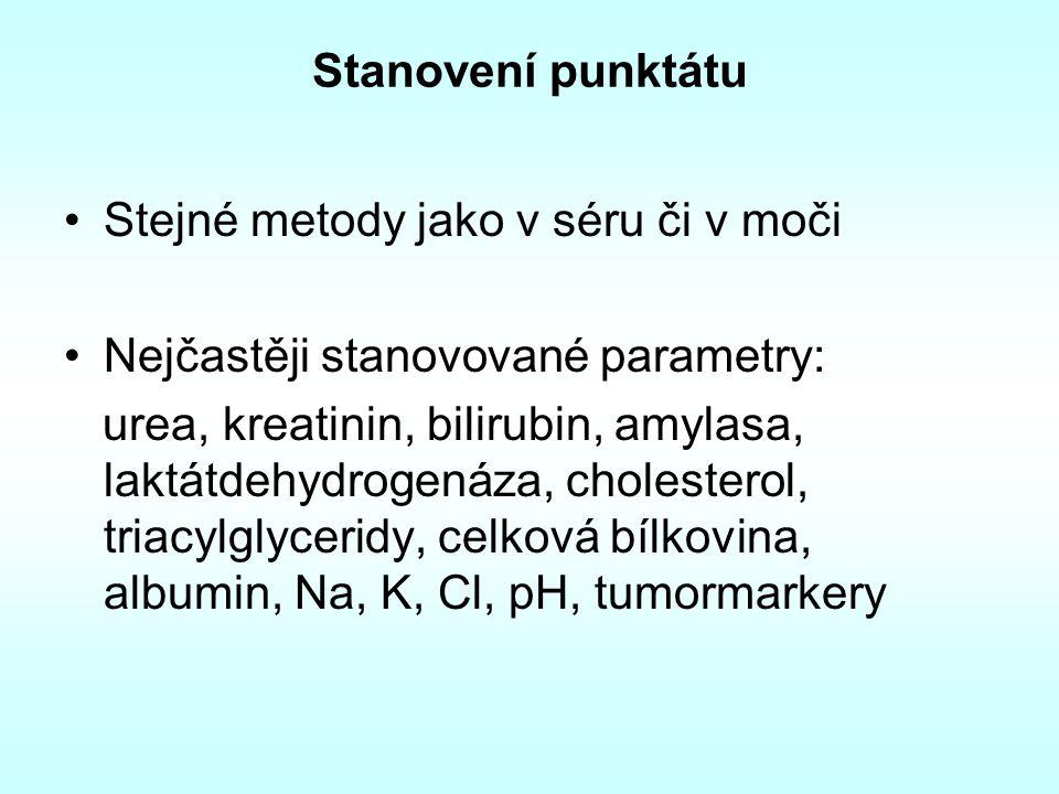 Stanovení punktátu Stejné metody jako v séru či v moči Nejčastěji stanovované parametry: urea, kreatinin, bilirubin, amylasa, laktátdehydrogenáza, cho
