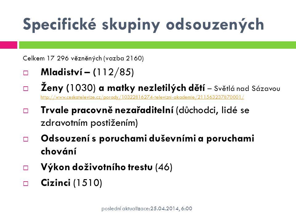 poslední aktualizace:25.04.2014, 6:00 Specifické skupiny odsouzených Celkem 17 296 vězněných (vazba 2160)  Mladiství – (112/85)  Ženy (1030) a matky