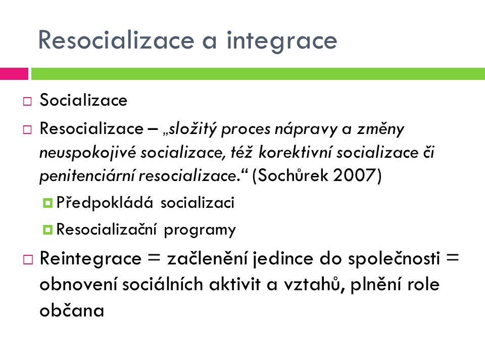 """Resocializace a integrace  Socializace  Resocializace – """" složitý proces nápravy a změny neuspokojivé socializace, též korektivní socializace či penitenciární resocializace. (Sochůrek 2007)  Předpokládá socializaci  Resocializační programy  Reintegrace = začlenění jedince do společnosti = obnovení sociálních aktivit a vztahů, plnění role občana"""