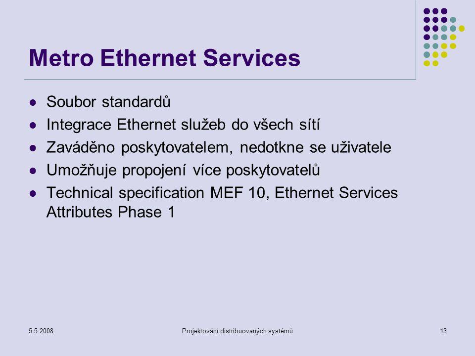 5.5.2008Projektování distribuovaných systémů13 Metro Ethernet Services Soubor standardů Integrace Ethernet služeb do všech sítí Zaváděno poskytovatelem, nedotkne se uživatele Umožňuje propojení více poskytovatelů Technical specification MEF 10, Ethernet Services Attributes Phase 1