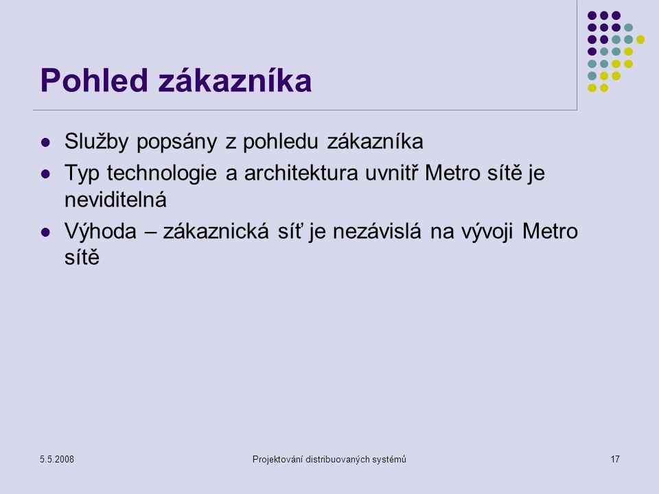 5.5.2008Projektování distribuovaných systémů17 Pohled zákazníka Služby popsány z pohledu zákazníka Typ technologie a architektura uvnitř Metro sítě je neviditelná Výhoda – zákaznická síť je nezávislá na vývoji Metro sítě