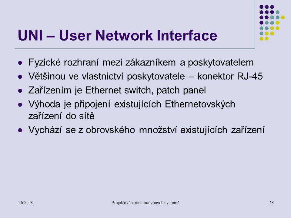 5.5.2008Projektování distribuovaných systémů18 UNI – User Network Interface Fyzické rozhraní mezi zákazníkem a poskytovatelem Většinou ve vlastnictví poskytovatele – konektor RJ-45 Zařízením je Ethernet switch, patch panel Výhoda je připojení existujících Ethernetovských zařízení do sítě Vychází se z obrovského množství existujících zařízení