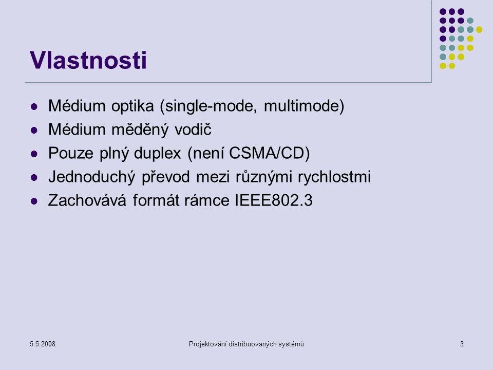 5.5.2008Projektování distribuovaných systémů4 Fyzická úroveň Podúrovně PMD – Physical medium Depend Fyzické propojení a řízení přístupu Definice vysílačů a přijímačů PMA – Physical medium Attachment PCS – Physical Coding Sublayer Kódování 8B/10B, 64B/66B Serializace dat Multiplexování Výkonné lasery Fyzické propojení do sítě LAN WAN - SONET STS-192c/SHD VC-4-64c
