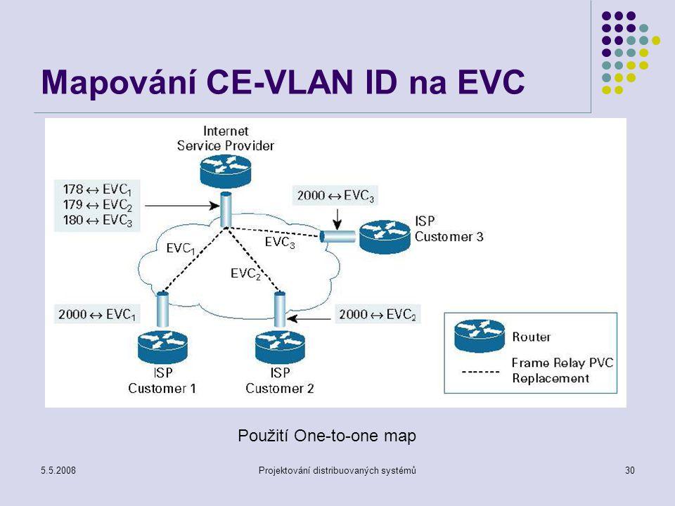 5.5.2008Projektování distribuovaných systémů30 Mapování CE-VLAN ID na EVC Použití One-to-one map