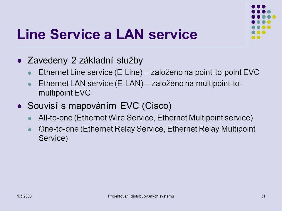 5.5.2008Projektování distribuovaných systémů31 Line Service a LAN service Zavedeny 2 základní služby Ethernet Line service (E-Line) – založeno na point-to-point EVC Ethernet LAN service (E-LAN) – založeno na multipoint-to- multipoint EVC Souvisí s mapováním EVC (Cisco) All-to-one (Ethernet Wire Service, Ethernet Multipoint service) One-to-one (Ethernet Relay Service, Ethernet Relay Multipoint Service)