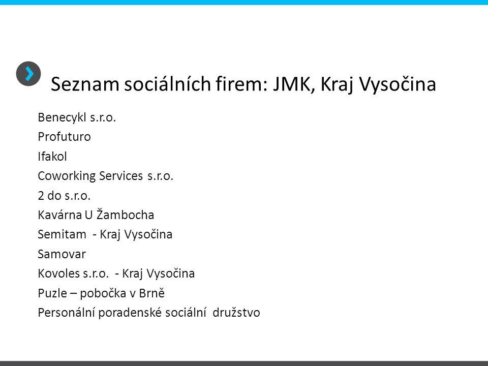 Seznam sociálních firem: JMK, Kraj Vysočina Benecykl s.r.o.