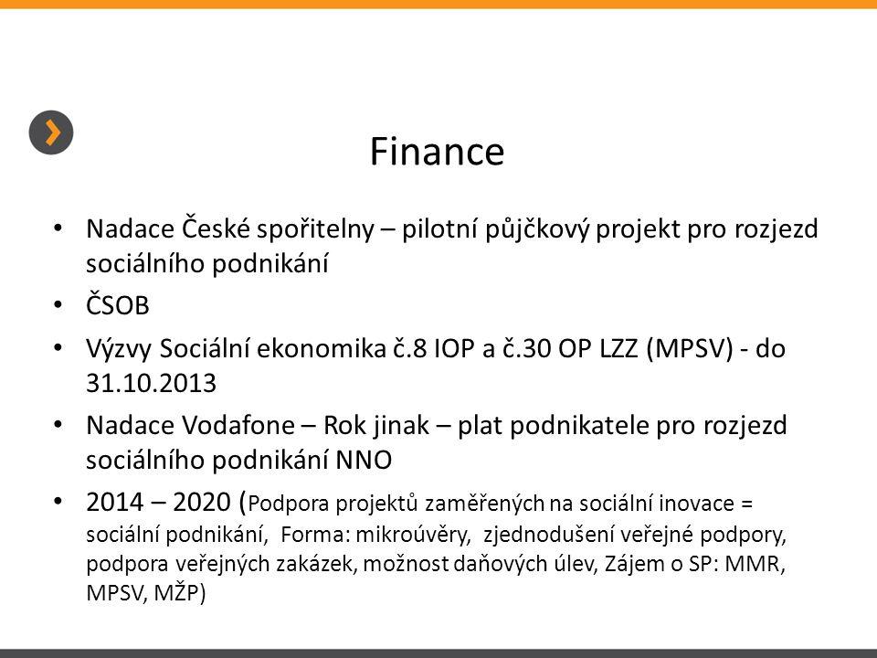 Finance Nadace České spořitelny – pilotní půjčkový projekt pro rozjezd sociálního podnikání ČSOB Výzvy Sociální ekonomika č.8 IOP a č.30 OP LZZ (MPSV) - do 31.10.2013 Nadace Vodafone – Rok jinak – plat podnikatele pro rozjezd sociálního podnikání NNO 2014 – 2020 ( Podpora projektů zaměřených na sociální inovace = sociální podnikání, Forma: mikroúvěry, zjednodušení veřejné podpory, podpora veřejných zakázek, možnost daňových úlev, Zájem o SP: MMR, MPSV, MŽP)