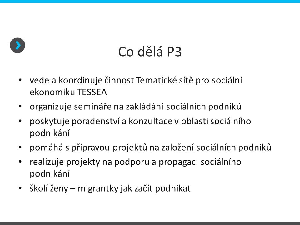 Co dělá P3 vede a koordinuje činnost Tematické sítě pro sociální ekonomiku TESSEA organizuje semináře na zakládání sociálních podniků poskytuje poradenství a konzultace v oblasti sociálního podnikání pomáhá s přípravou projektů na založení sociálních podniků realizuje projekty na podporu a propagaci sociálního podnikání školí ženy – migrantky jak začít podnikat