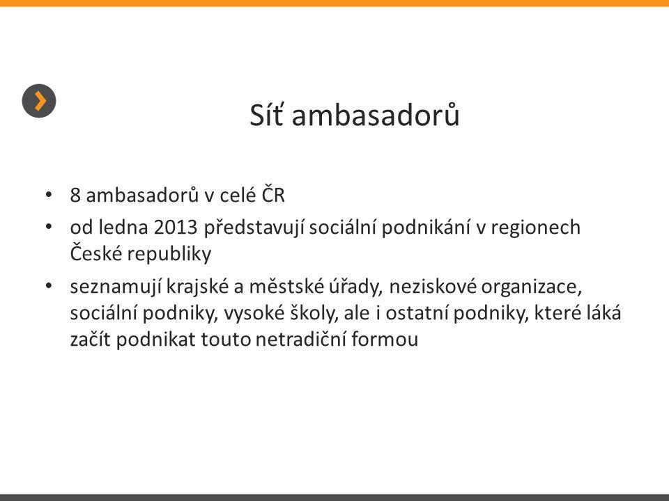 Síť ambasadorů 8 ambasadorů v celé ČR od ledna 2013 představují sociální podnikání v regionech České republiky seznamují krajské a městské úřady, neziskové organizace, sociální podniky, vysoké školy, ale i ostatní podniky, které láká začít podnikat touto netradiční formou