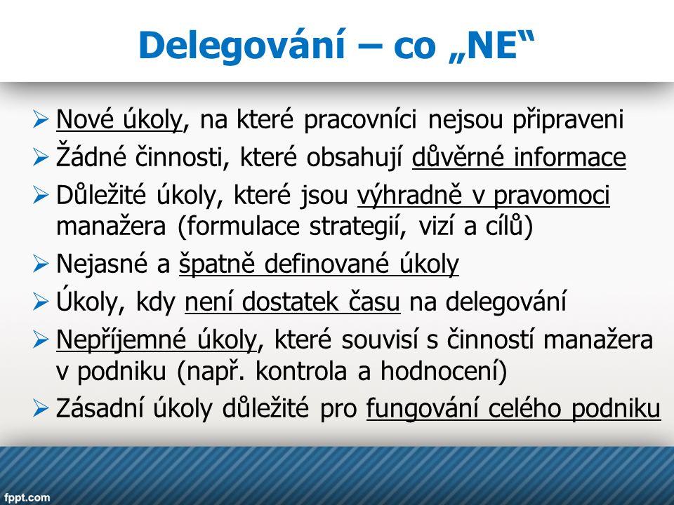 """Delegování – co """"NE""""  Nové úkoly, na které pracovníci nejsou připraveni  Žádné činnosti, které obsahují důvěrné informace  Důležité úkoly, které js"""