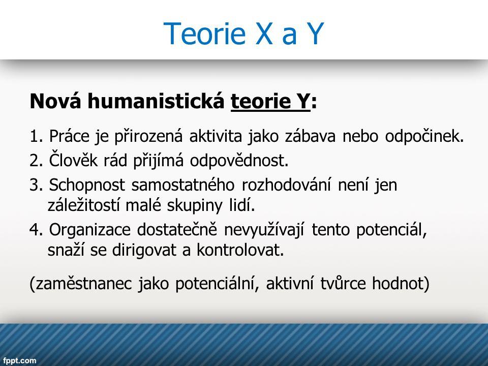 Teorie X a Y Nová humanistická teorie Y: 1. Práce je přirozená aktivita jako zábava nebo odpočinek. 2. Člověk rád přijímá odpovědnost. 3. Schopnost sa