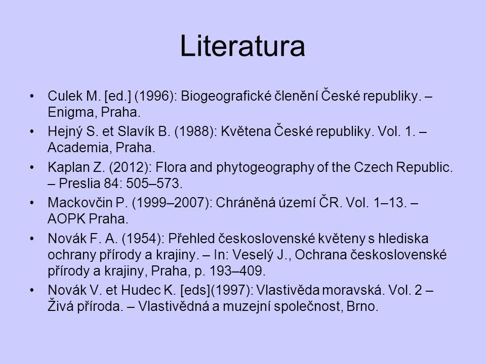 Literatura Culek M. [ed.] (1996): Biogeografické členění České republiky. – Enigma, Praha. Hejný S. et Slavík B. (1988): Květena České republiky. Vol.