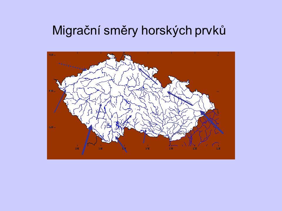 Migrační směry horských prvků