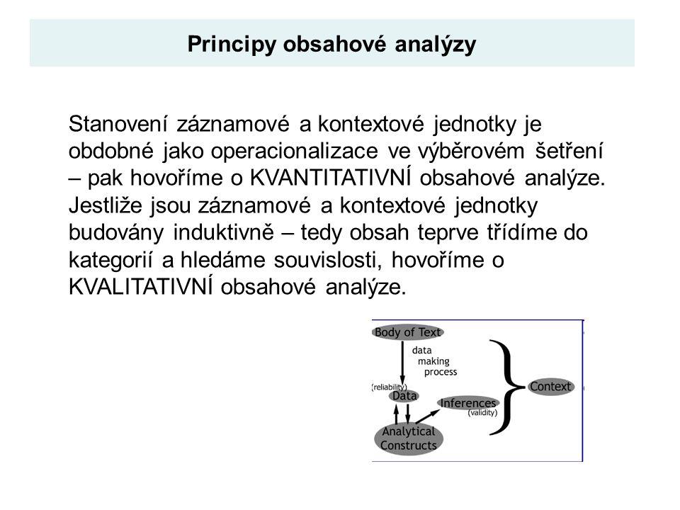 Principy obsahové analýzy Stanovení záznamové a kontextové jednotky je obdobné jako operacionalizace ve výběrovém šetření – pak hovoříme o KVANTITATIV