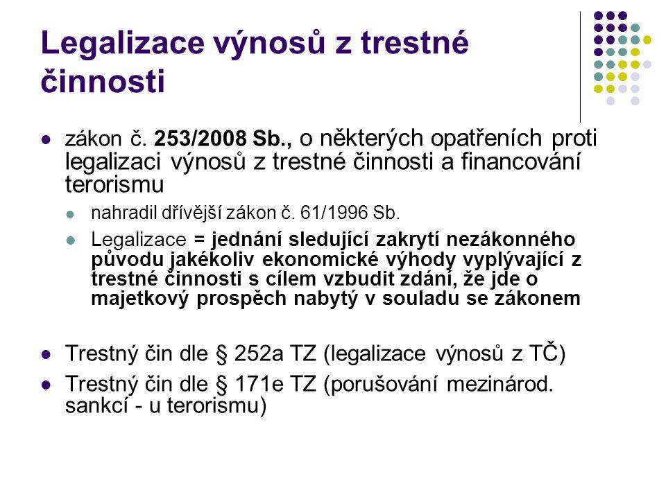 Legalizace výnosů z trestné činnosti zákon č. 253/2008 Sb., o některých opatřeních proti legalizaci výnosů z trestné činnosti a financování terorismu