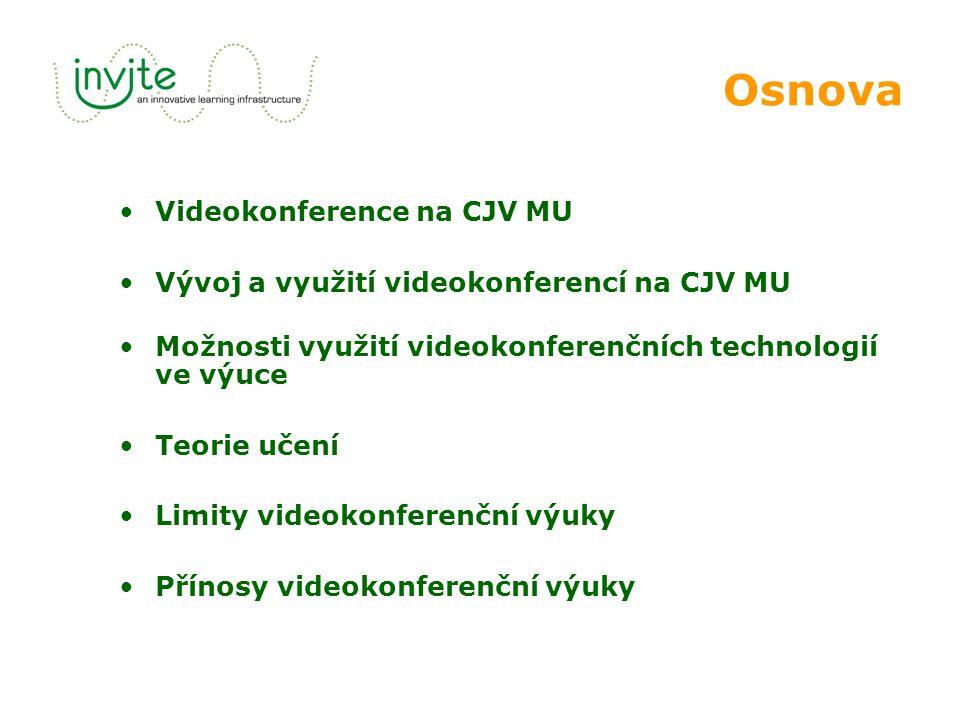 Osnova Videokonference na CJV MU Vývoj a využití videokonferencí na CJV MU Možnosti využití videokonferenčních technologií ve výuce Teorie učení Limity videokonferenční výuky Přínosy videokonferenční výuky