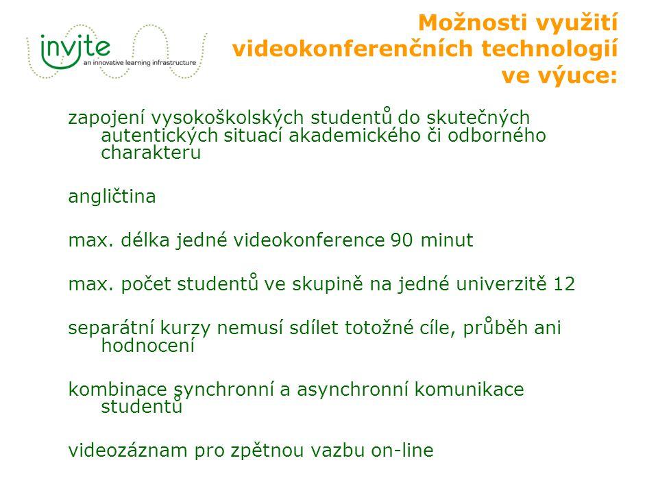 Možnosti využití videokonferenčních technologií ve výuce: zapojení vysokoškolských studentů do skutečných autentických situací akademického či odborného charakteru angličtina max.