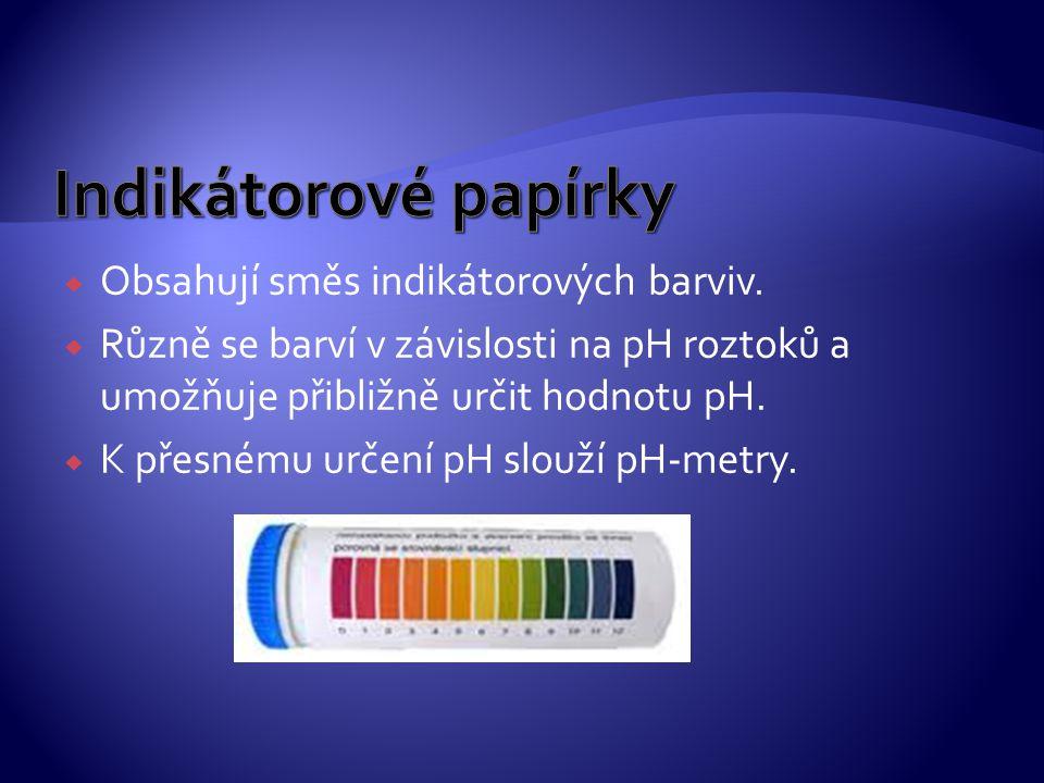  Obsahují směs indikátorových barviv.  Různě se barví v závislosti na pH roztoků a umožňuje přibližně určit hodnotu pH.  K přesnému určení pH slouž