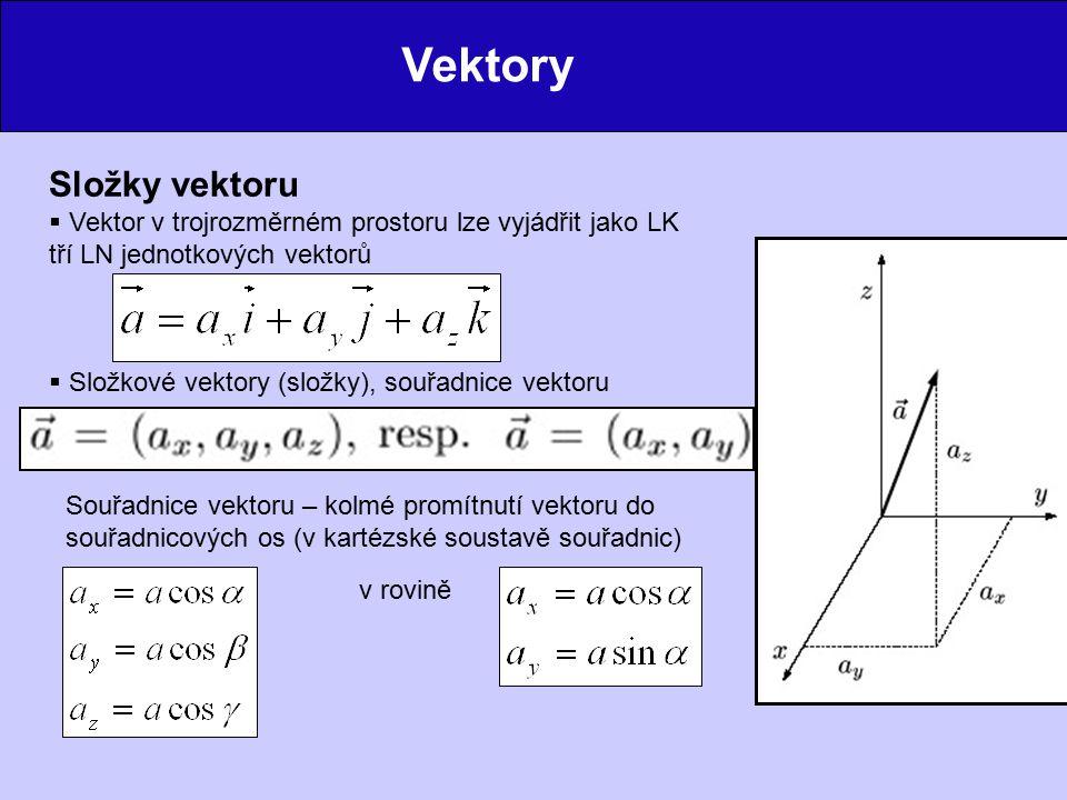 Vektory Složky vektoru  Vektor v trojrozměrném prostoru lze vyjádřit jako LK tří LN jednotkových vektorů  Složkové vektory (složky), souřadnice vektoru Souřadnice vektoru – kolmé promítnutí vektoru do souřadnicových os (v kartézské soustavě souřadnic) v rovině