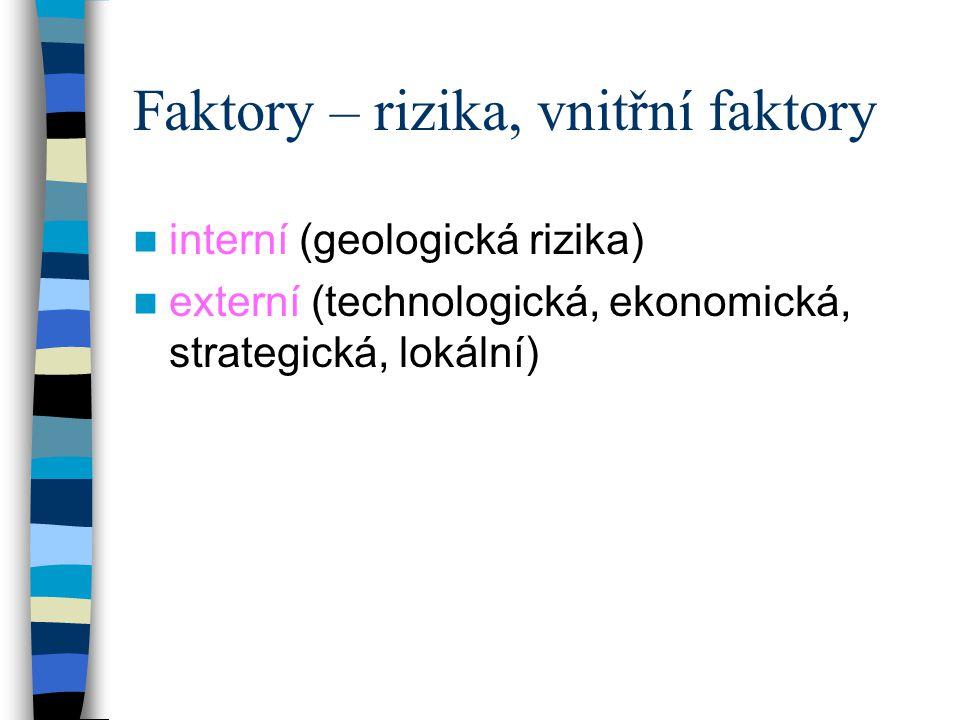 Faktory – rizika, vnitřní faktory interní (geologická rizika) externí (technologická, ekonomická, strategická, lokální)