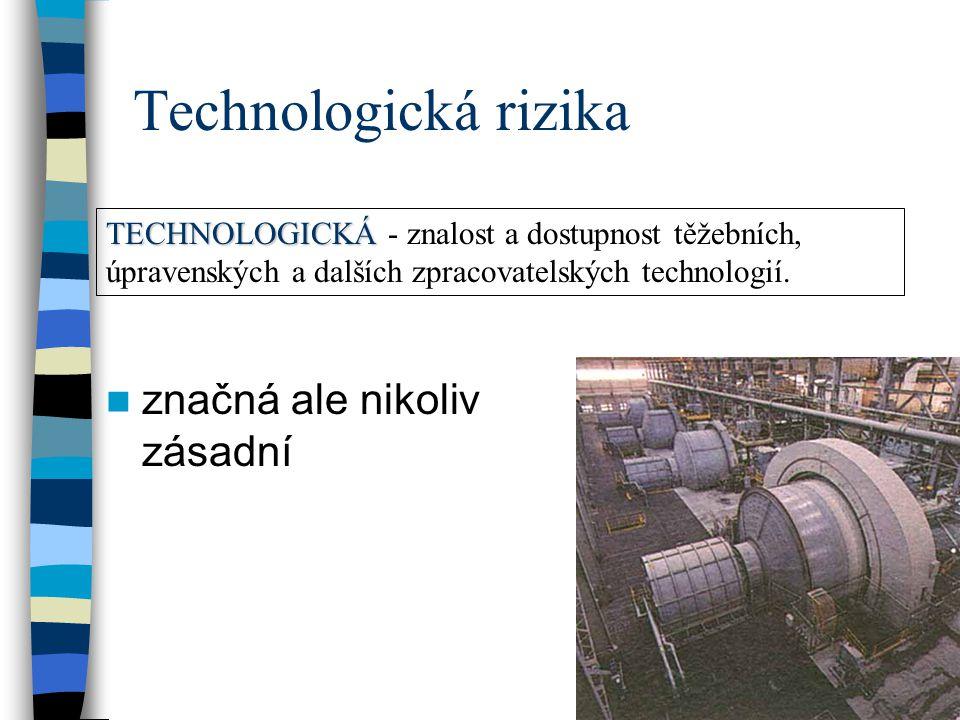 Technologická rizika značná ale nikoliv zásadní TECHNOLOGICKÁ TECHNOLOGICKÁ - znalost a dostupnost těžebních, úpravenských a dalších zpracovatelských technologií.