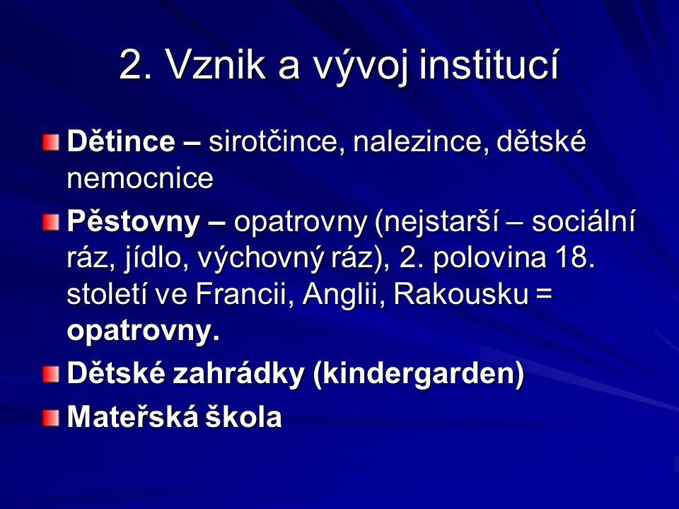 2.Vznik a vývoj institucí 1832 vznikla u nás první OPATROVNA Na Hrádku, kterou vedl J.V.Svoboda.