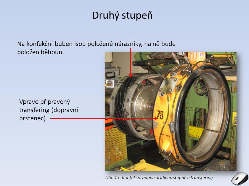 Druhý stupeň Na konfekční buben jsou položené nárazníky, na ně bude položen běhoun. Obr. 13: Konfekční buben druhého stupně a transfering Vpravo připr
