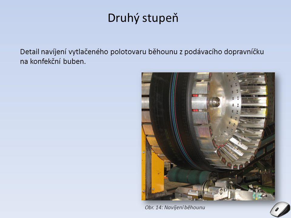 Druhý stupeň Detail navíjení vytlačeného polotovaru běhounu z podávacího dopravníčku na konfekční buben. Obr. 14: Navíjení běhounu