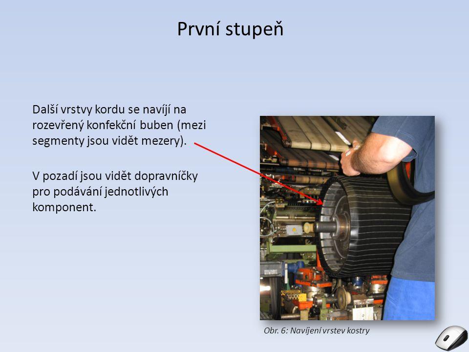 První stupeň Další vrstvy kordu se navíjí na rozevřený konfekční buben (mezi segmenty jsou vidět mezery). V pozadí jsou vidět dopravníčky pro podávání
